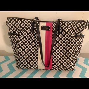 Kate Spade-Black Canvas Printed Adaria Diaper Bag.